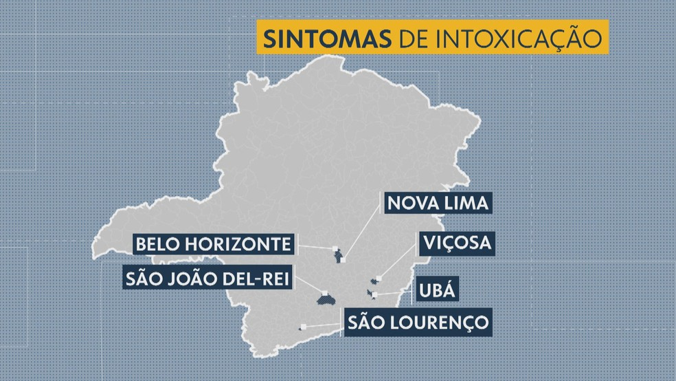 Cidades onde foram notificados sintomas de intoxicação — Foto: Editoria de Arte/Globo