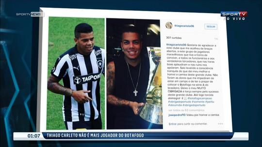 """Pelas redes sociais, Thiago Carleto dá adeus ao Botafogo: """"Dei meu melhor"""""""