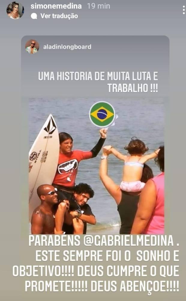 Simone Medina celebra a vitória do filho, Gabriel Medina (Foto: Reprodução/Instagram)