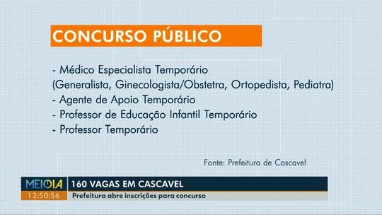 Prefeitura de Cascavel abre inscrição para teste seletivo com 160 vagas