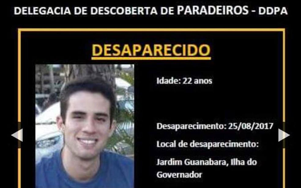 Estudante estava desaparecido desde agosto (Foto: Divulgação Polícia Civil)