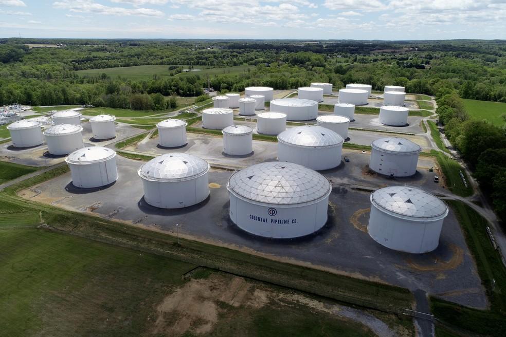 Instalações da Colonial Pipeline em Woodbine, Maryland (EUA) — Foto: Drone Base/Reuters