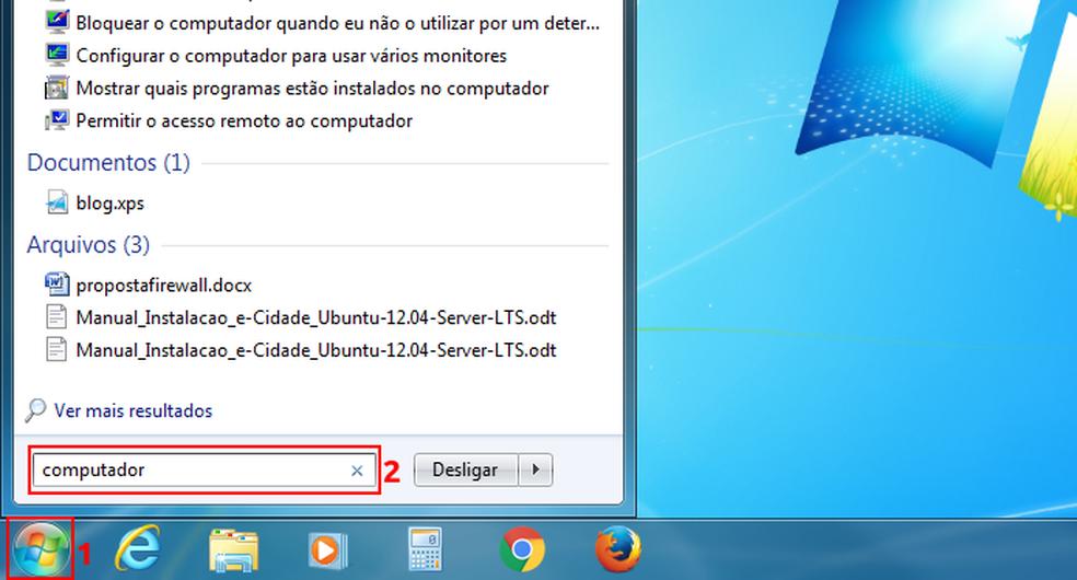 Pesquisando por 'computador' na busca do Windows 7 — Foto: Edivaldo Brito/TechTudo