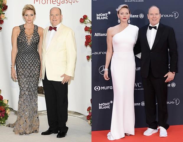 Os ombros de fora e a silhueta mais justa são marcas registradas da Princesa Charlene (Foto: Getty Images)