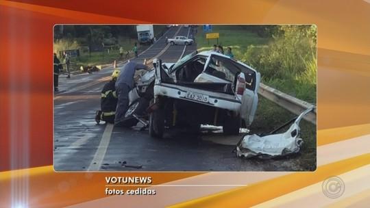 Casal e filho de 7 anos morrem em acidente entre caminhonete e carreta em Votuporanga