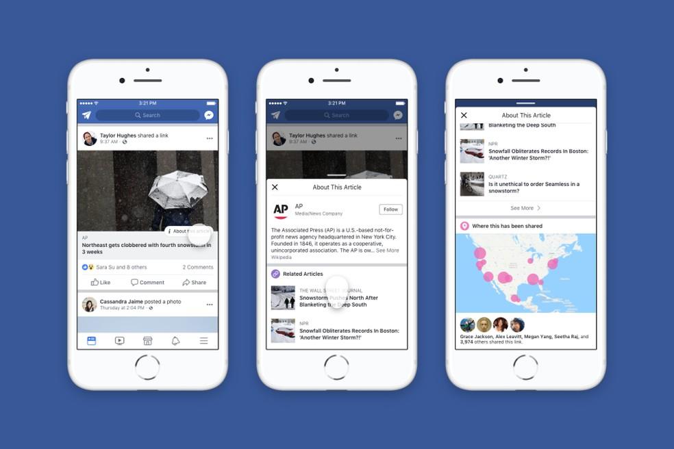 'Botão de contexto' permite ao usuário checar mais informações sobre um artigo compartilhado no Facebook â?? Foto: Divulgação/Facebook