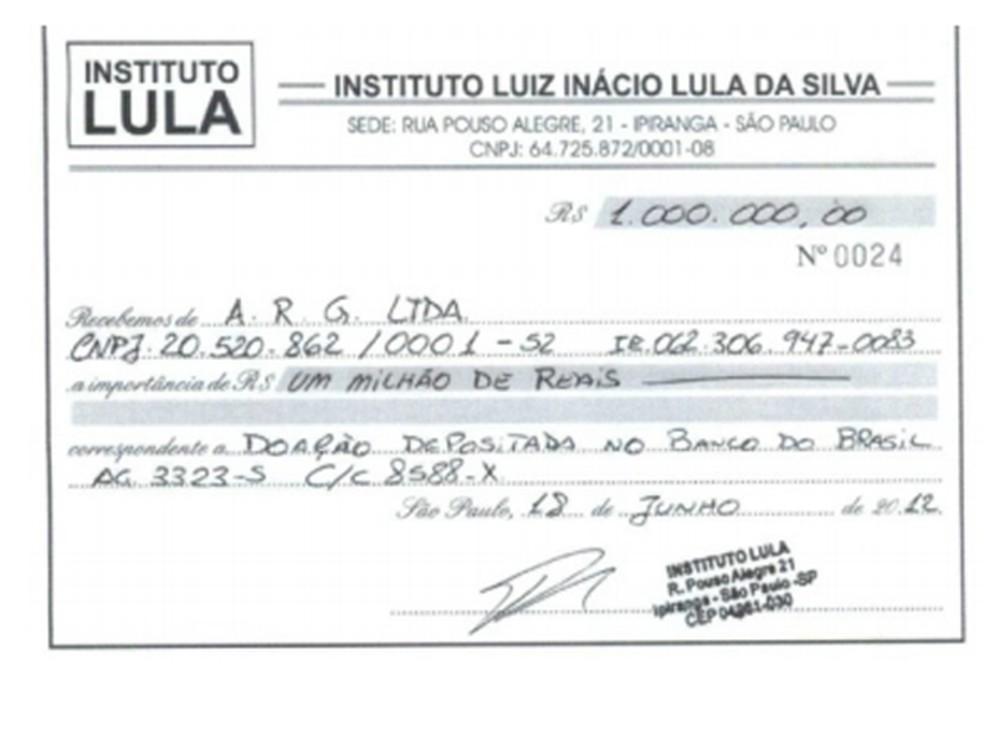 Comprovante de doação deito pela ARG para o Instituto Lula — Foto: Reprodução/MPF
