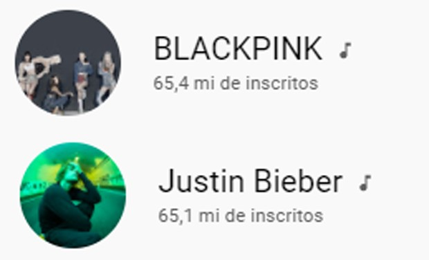 Número de seguidores nos canais de BLACKPINK e Justin Bieber nesta sexta-feira (10) (Foto: Reprodução/YouTube)