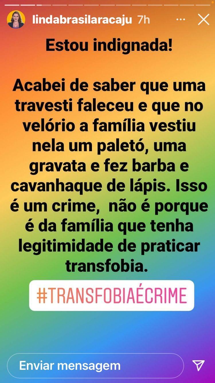 Travesti é enterrada de terno e bigode pela família, em Aracaju, e movimento trans se revolta