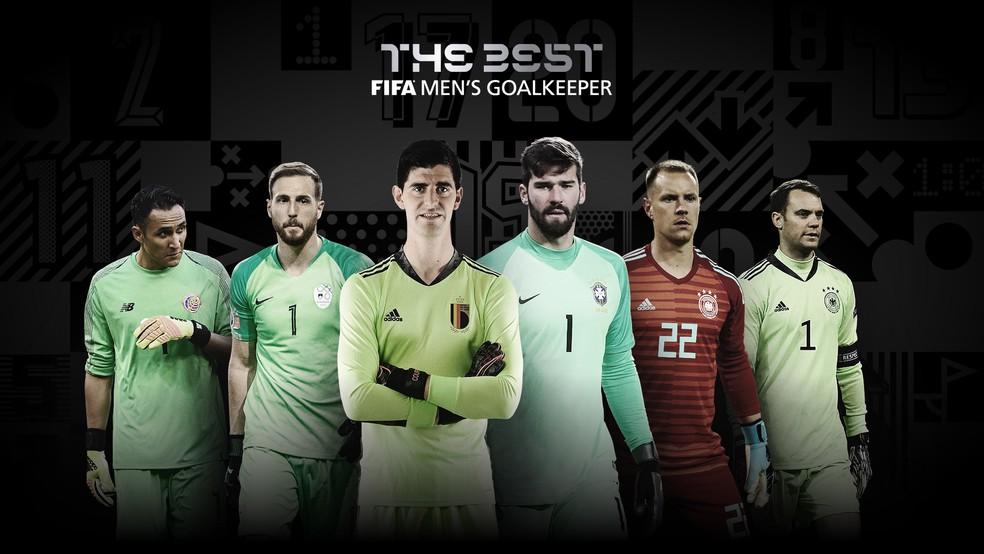 Navas, Oblak, Courtois, Alisson, Ter Stegen e Neuer, candidatos ao prêmio de melhor goleiro no Fifa The Best 2020  — Foto: Reprodução