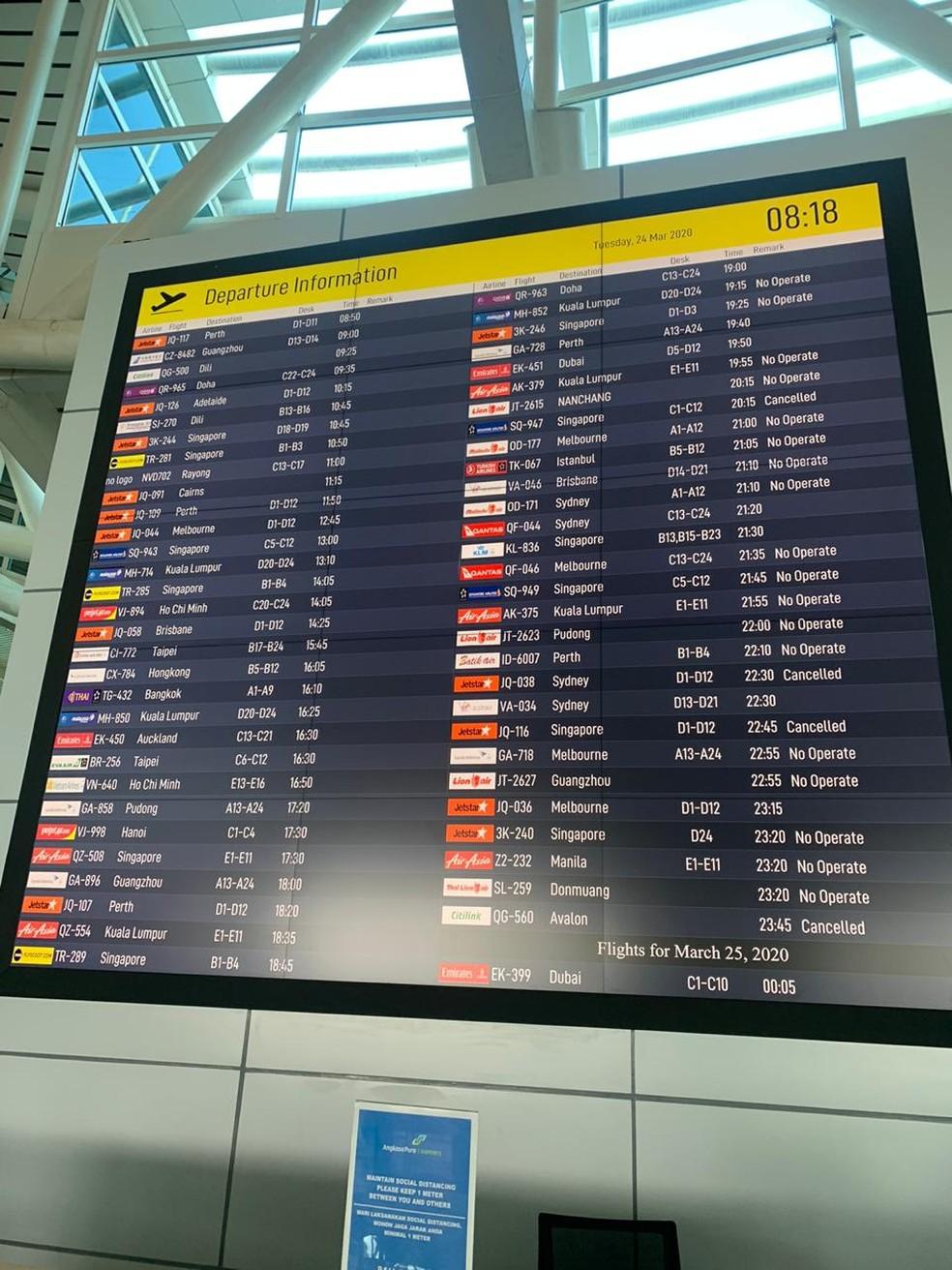 Voos cancelados em aeroporto da Indonésia durante a pandemia de coronavírus — Foto: Nicolas Puglisi