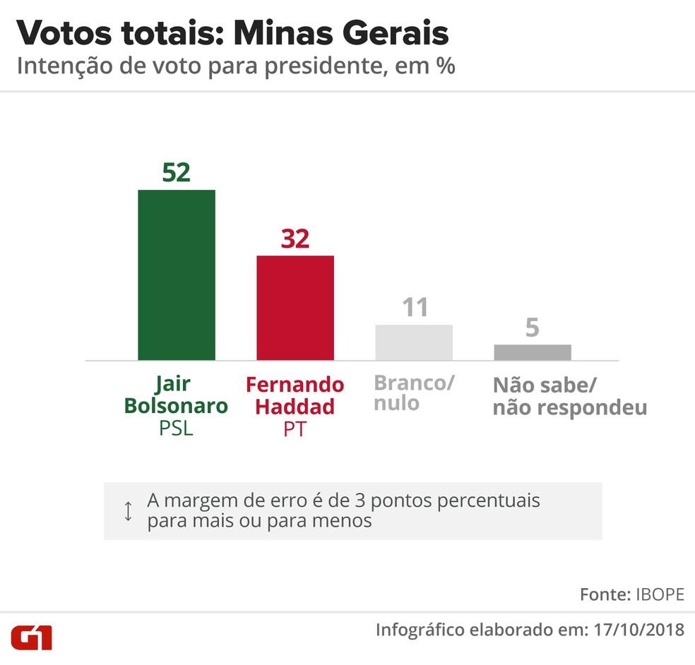 Pesquisa Ibope - 2º turno - Minas Gerais - votos totais no estado  — Foto: Arte/G1
