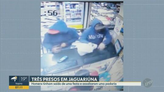 Três homens são presos após roubo a padaria em Jaguariúna