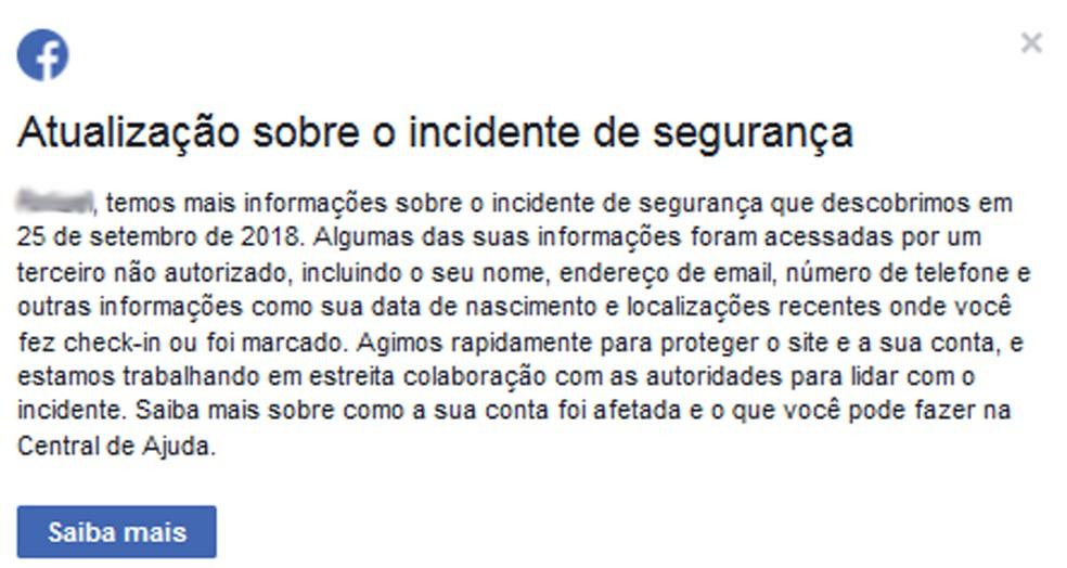 77f4a6472 ... Facebook começa a alertar usuários brasileiros sobre roubo de dados —  Foto  Facebook Reprodução