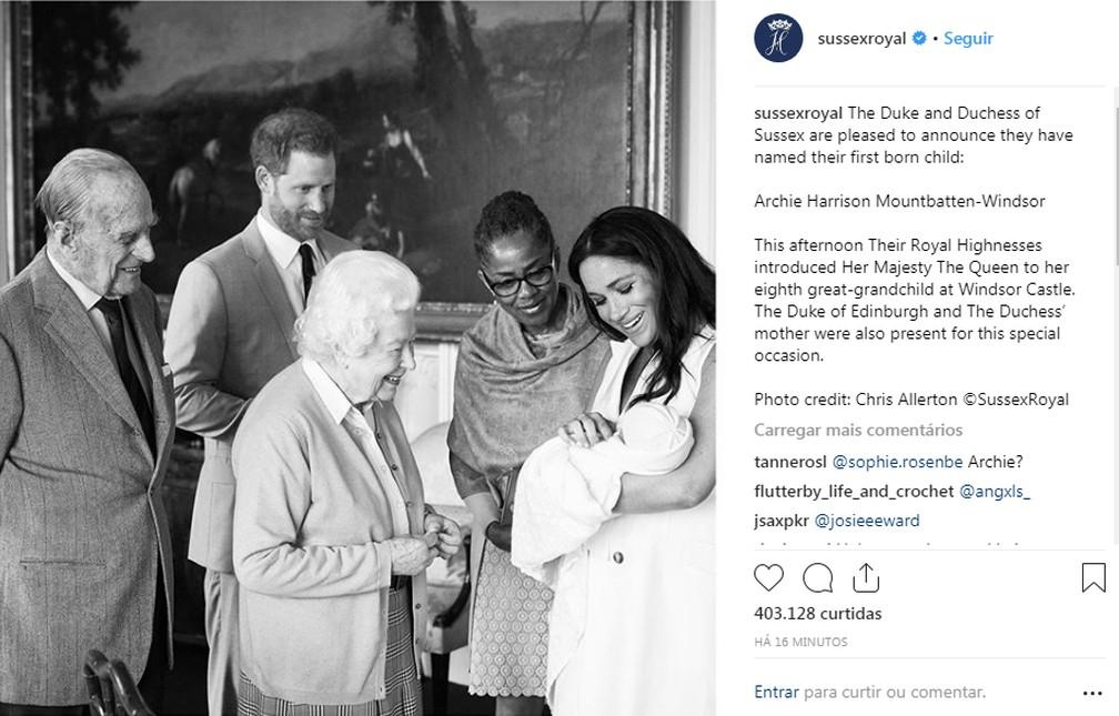 O anúncio do nome do bebê foi feito no Instagram do casal nesta quarta-feira (8). — Foto: Reprodução/Instagram