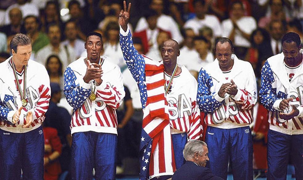 Michael Jordan no Dream Team em Barcelona 1992 — Foto: Divulgação