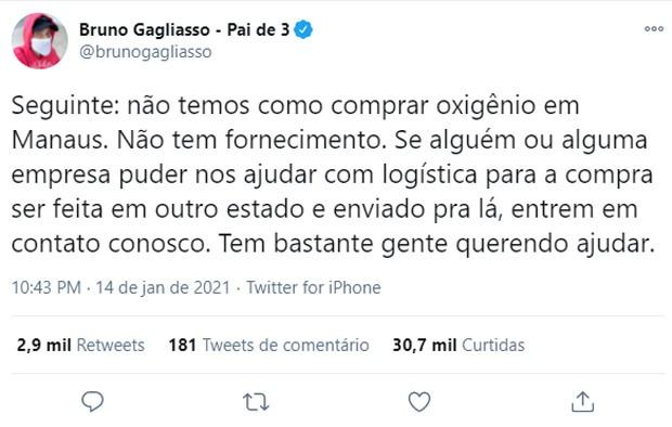 Bruno Gagliasso fala de logística para compra e entrega de cilindros de oxigênio em Manaus (Foto: Reprodução/Twitter)