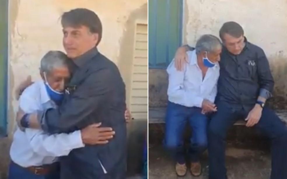 Sem máscara, Bolsonaro faz visita surpresa a povoado em Goiás no domingo (27/6), onde abraça moradores — Foto: Reprodução/Facebook