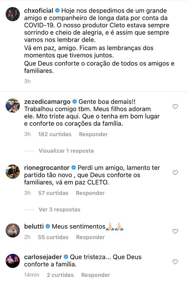 Cleto, produtor da dupla Chitãozinho & Xororó, morre vítima de Covid-19 (Foto: Reprodução / Instagram)