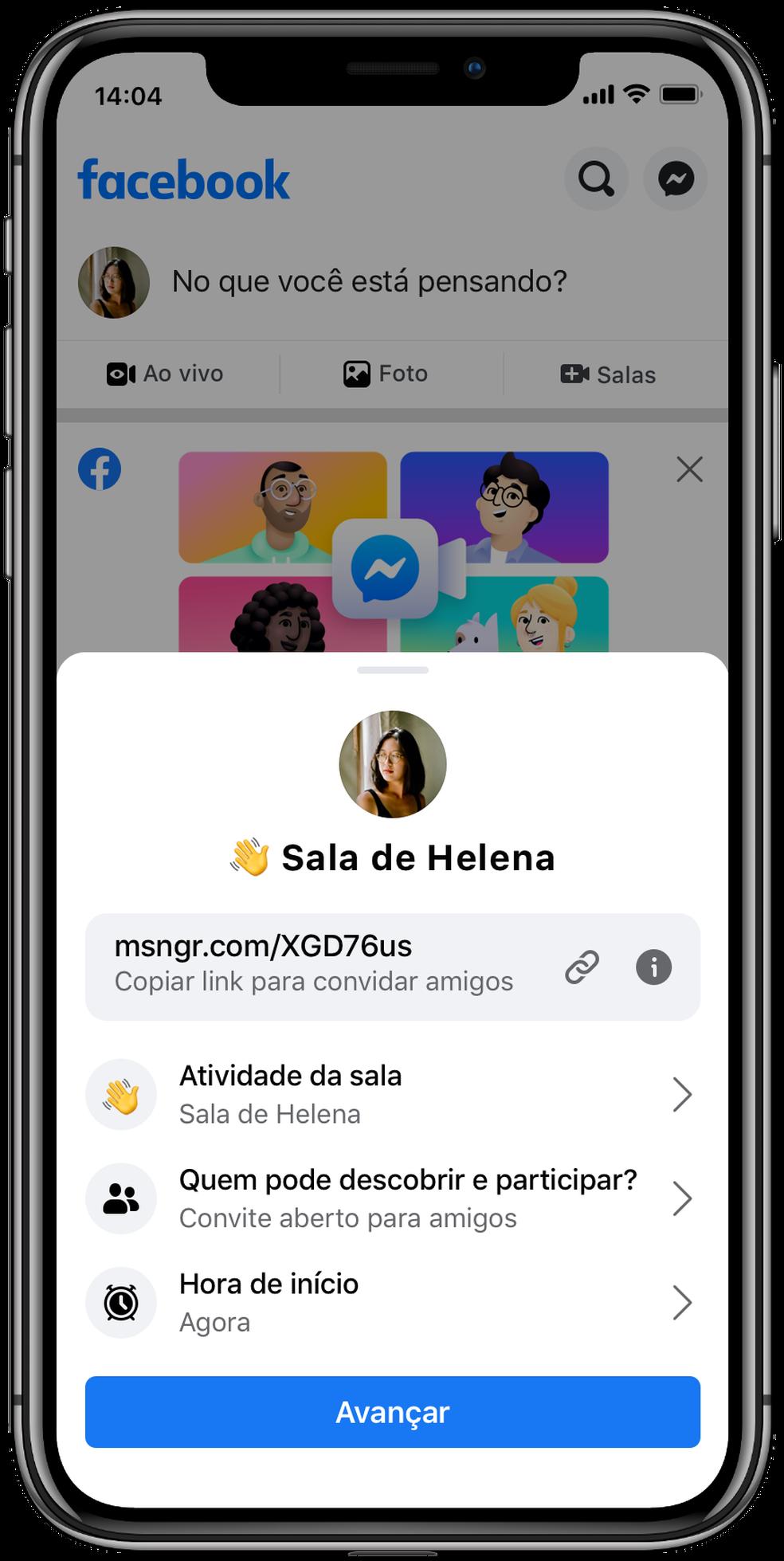 Salas também poderão ser criadas a partir do aplicativo do Facebook. — Foto: Divulgação/Facebook