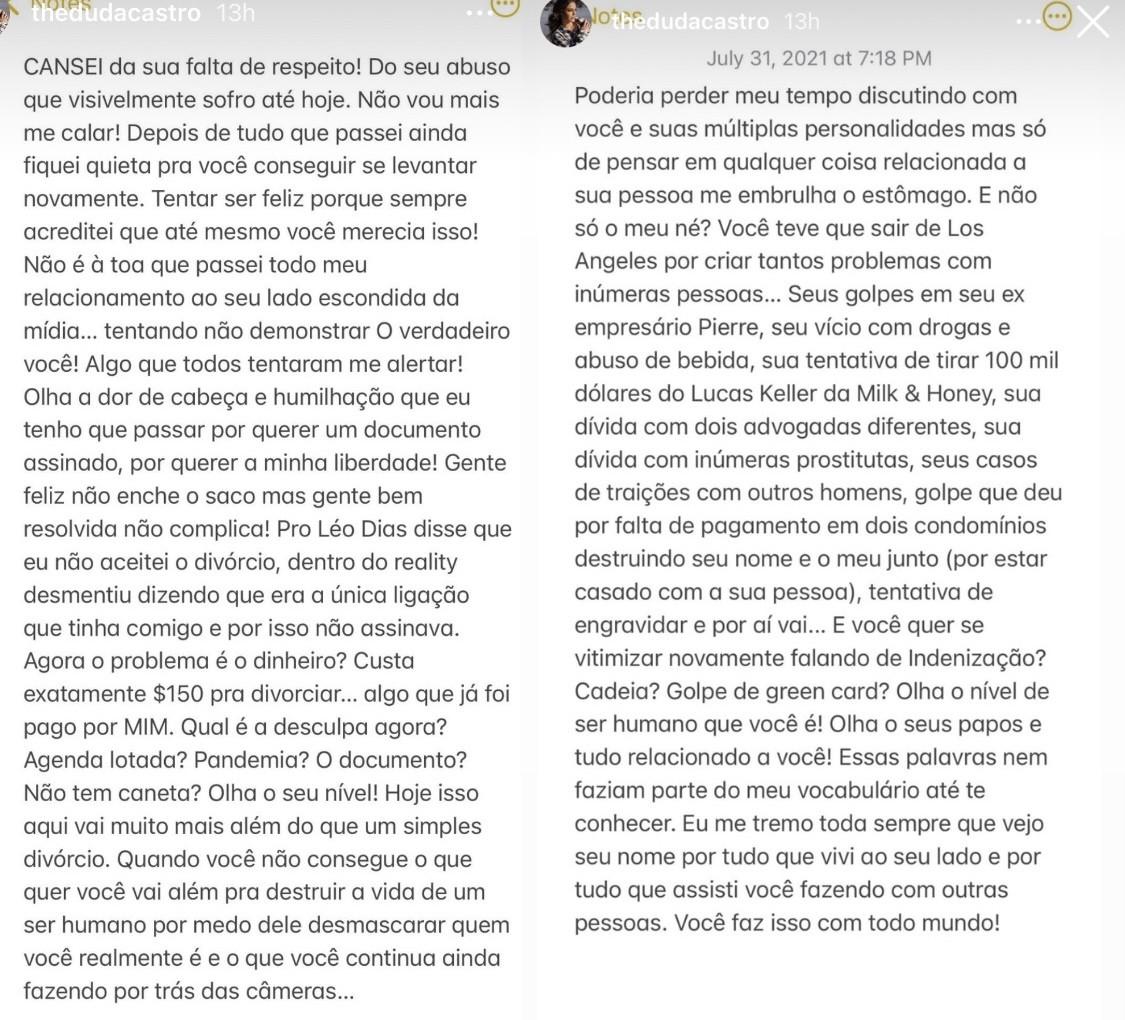 Duda Castro expõe Biel. (Reprodução/Instagram)