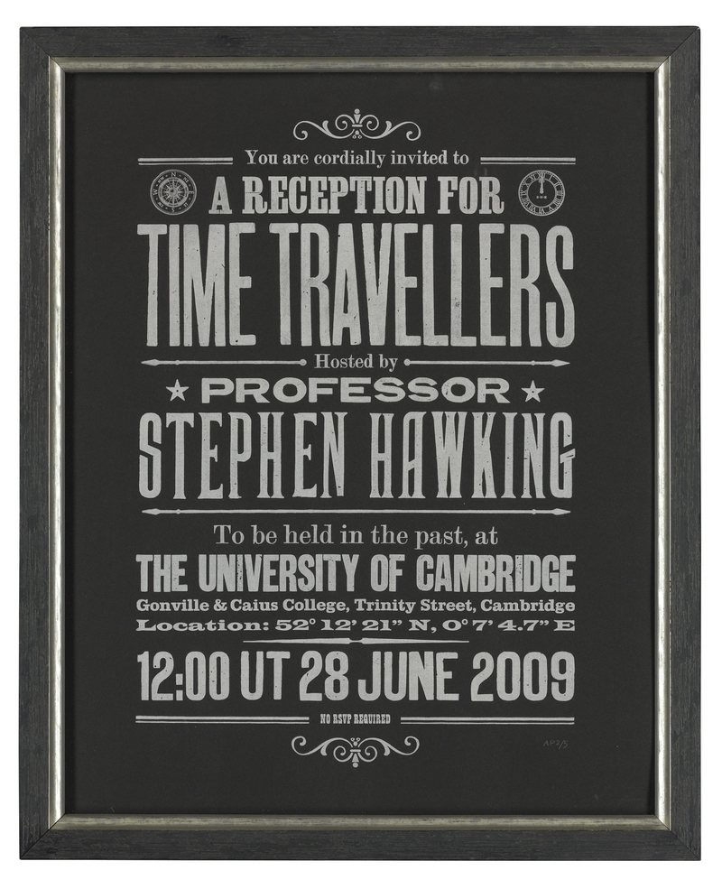 Convite de Stephen Hawking para viajantes no tempo (Foto: Christies/Divulgação)