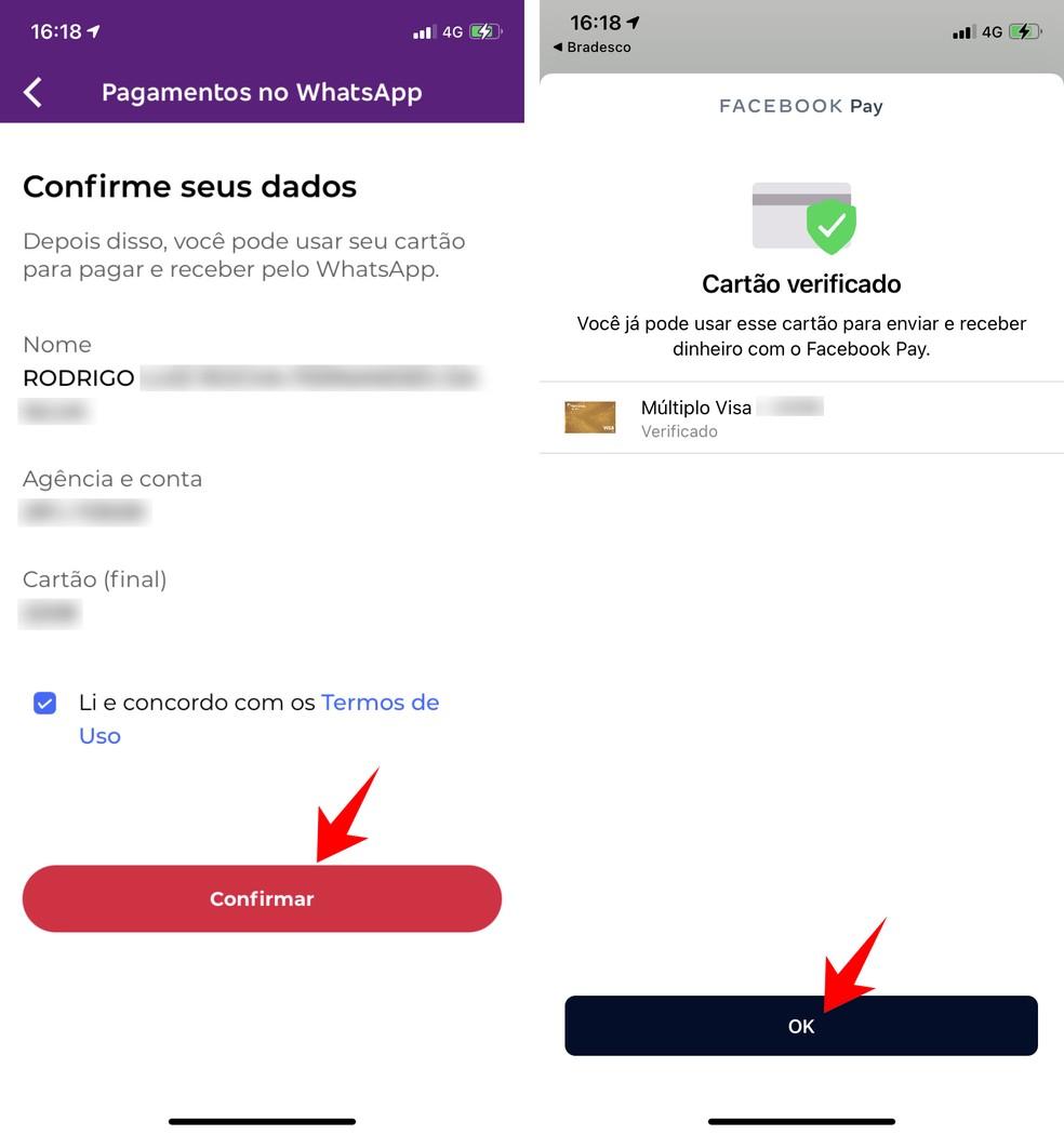Autorizando o uso do WhatsApp Pay no app do banco — Foto: Reprodução/Rodrigo Fernandes