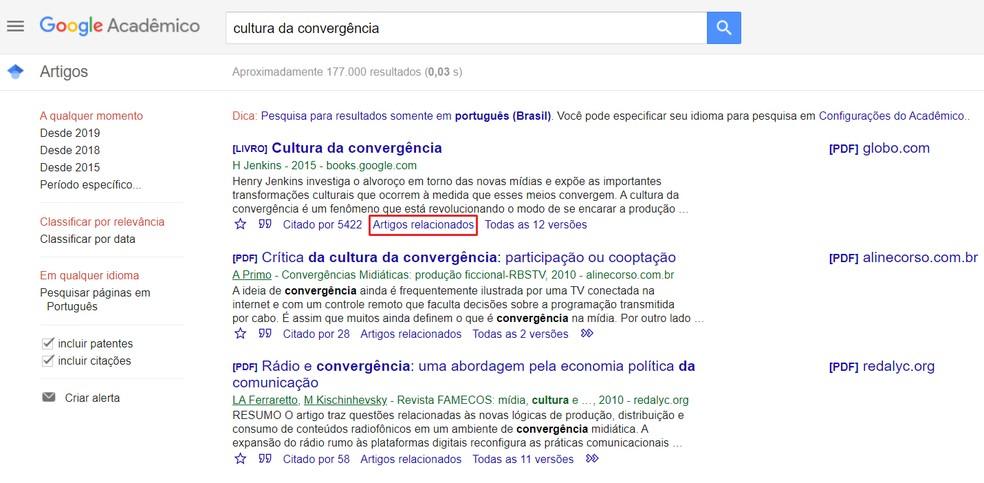 """Expanda os resultados de pesquisa com a função """"Artigos relacionados"""" do Google Acadêmico — Foto: Reprodução/Ana Letícia Loubak"""