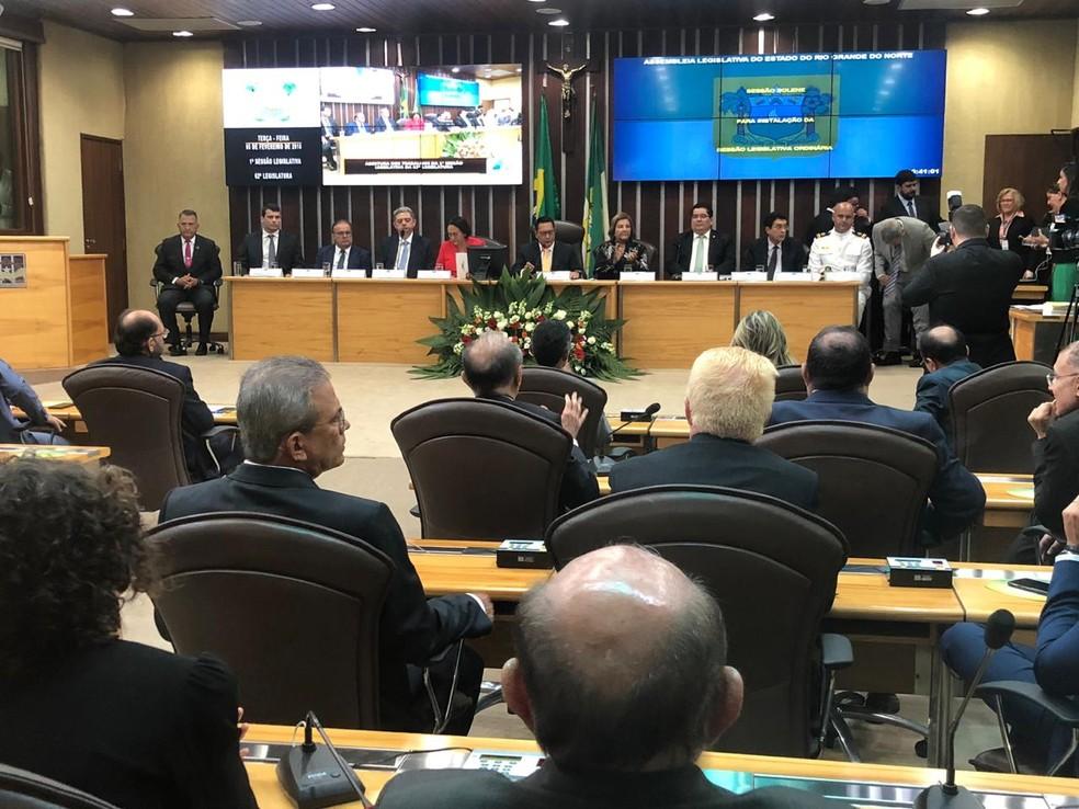 Fátima Bezerra (PT) leu mensagem anual na abertura dos trabalhos do Poder Legislativo. — Foto: Mariana Rocha/Inter TV Cabugi