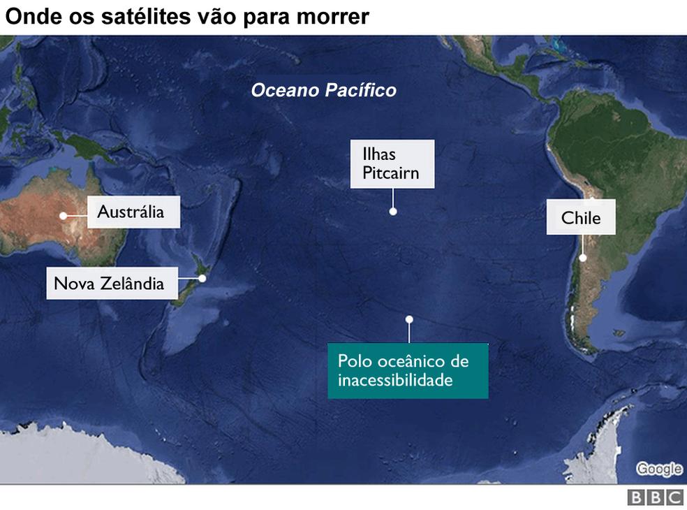 Possíveis pontos de morte do satélite (Foto: BBC)