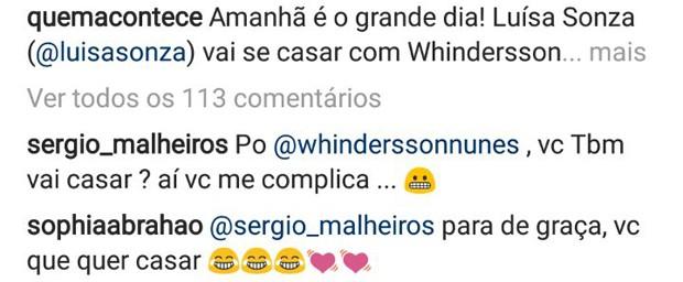 Comentários de Sérgio Malheiros e Sophia Abrahão (Foto: Reprodução/Instagram)