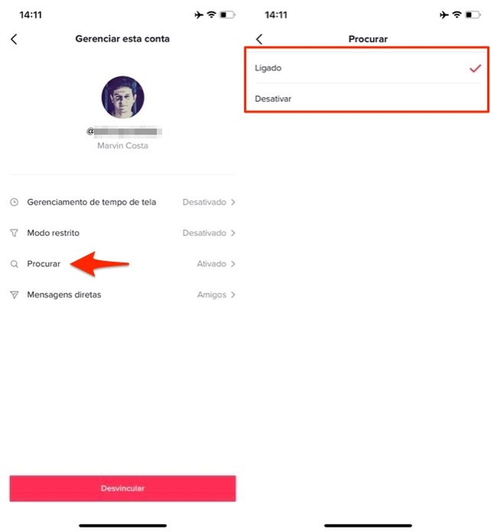 Ação para gerenciar a ferramenta de buscas no controle parental do app TikTok — Foto: Reprodução/Marvin Costa