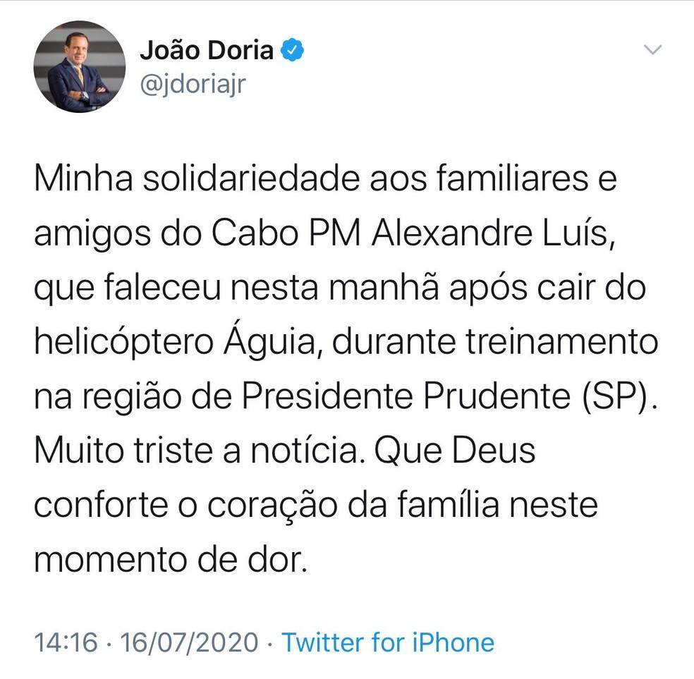Mensagem do governador sobre a morte do cabo Alexandre Luís Batista — Foto: Reprodução