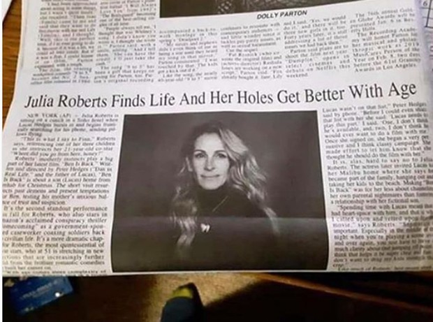 Jornal erra chamada sobre Julia Roberts (Foto: Reprodução/Instagram)