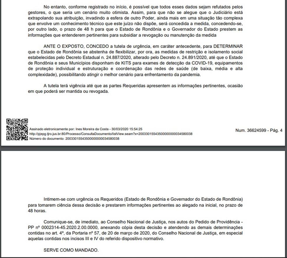 Justiça decretou que Estado de Rondônia não dê fim ao isolamento social. — Foto: Divulgação