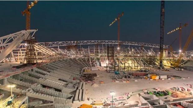 Estádio Al-Wakrah tem design assinado por Zaha Hadid em construção (Foto: Divulgação / Comitê Supremo de Entrega e Legado)