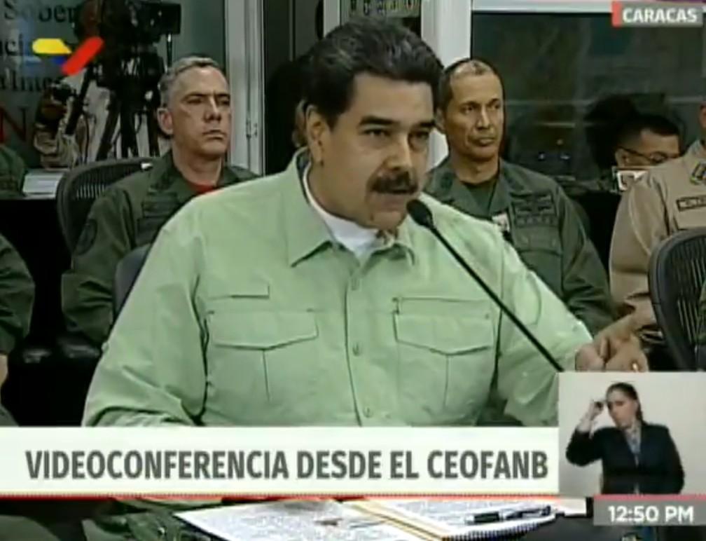 Nicolás Maduro anuncia que vai fechar fronteira terrestre entre Brasil e Venezuela — Foto: Reprodução/VTV