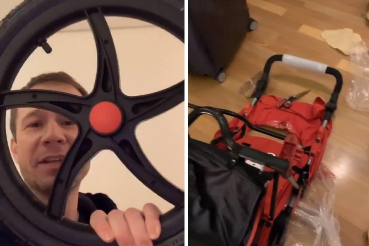 Tiago Leifert monta carrinho de bebê (Foto: Reprodução/Instagram)