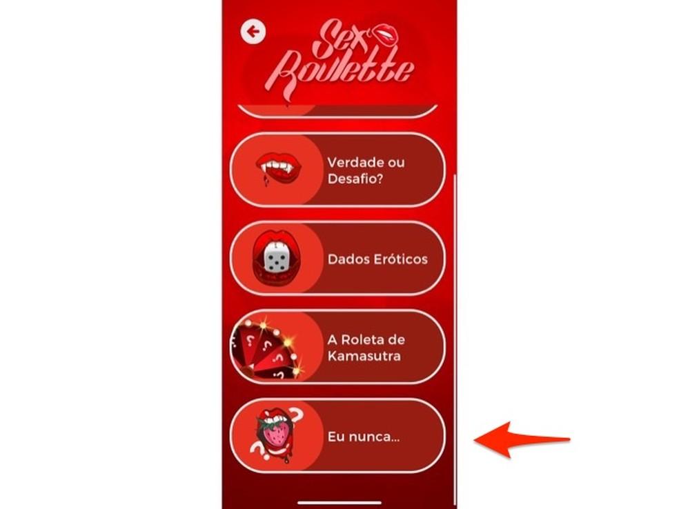 Ação para abrir o game Eu nunca no aplicativo Sex Roleta — Foto: Reprodução/Marvin Costa