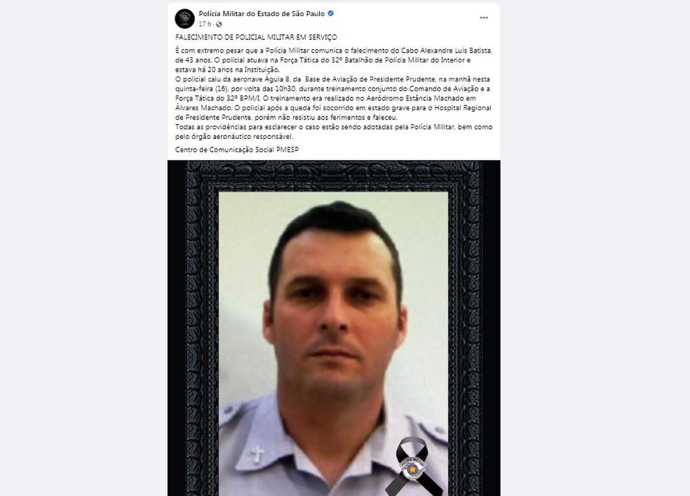 Polícia Militar publicou homenagem ao policial de Paraguaçu Paulista que morreu ao cair do helicóptero Águia — Foto: Facebook/Polícia Militar/Reprodução
