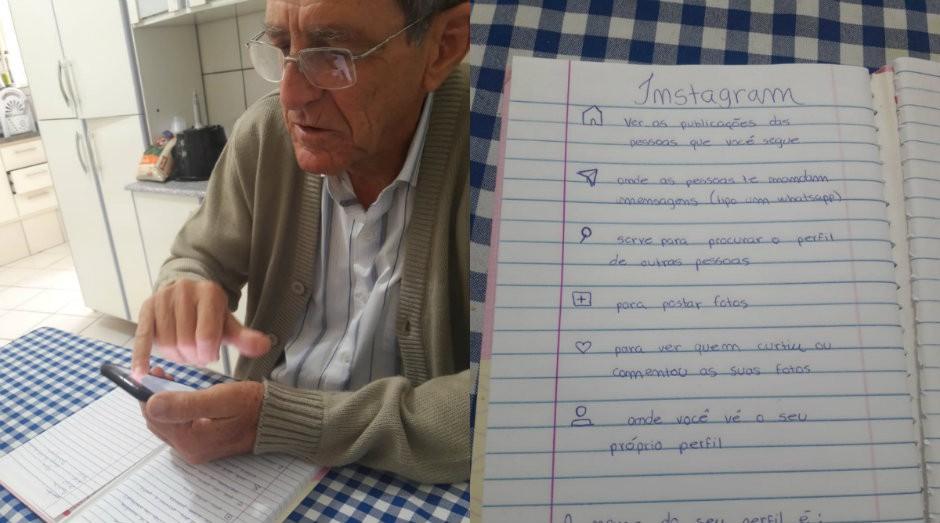 Neto deixou instruções no caderno para avô aprender a usar o Instagram (Foto: Reprodução)