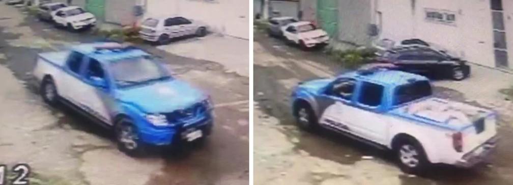 Câmera flagra carro da PM chegando com a caçamba vazia e, minutos depois, levando caixas de carne roubada; só uma pequena parte foi devolvida — Foto: Reprodução/TV Globo