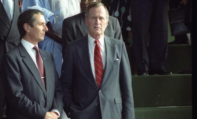Fernando Collor e George Bush durante a Conferência Rio-92