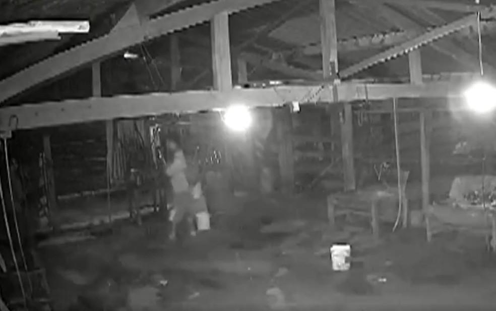 Lázaro Barbosa, suspeito de matar família em Ceilândia, flagrado por câmeras em chácara, em povoado de Cocalzinho de Goiás — Foto: Reprodução