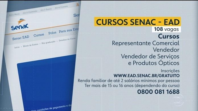 Senac Abre 108 Vagas Em Cursos Gratuitos De Qualificacao Profissional Pela Internet Pernambuco G1