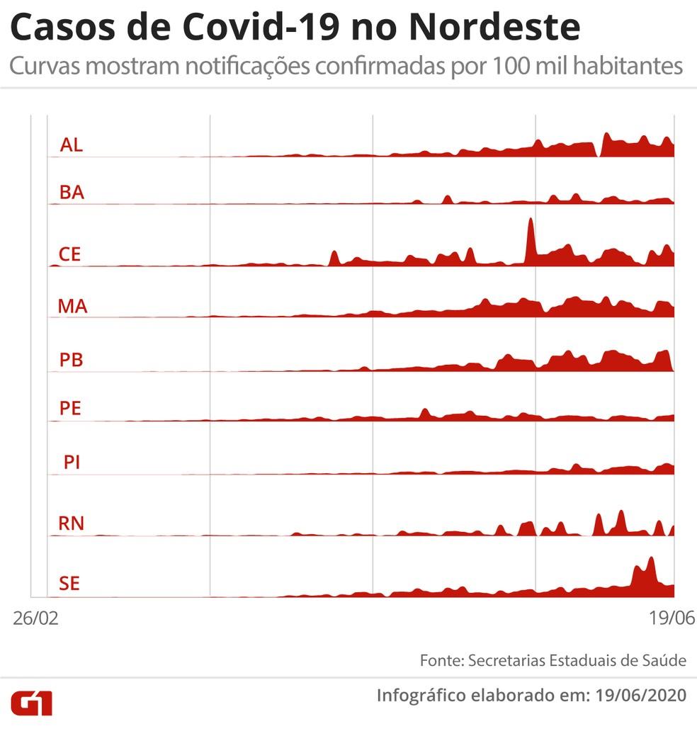 Casos de Covid-19 no Nordeste, em visualização que mostra o total de contaminados confirmados por 100 mil habitantes — Foto: Arte/G1
