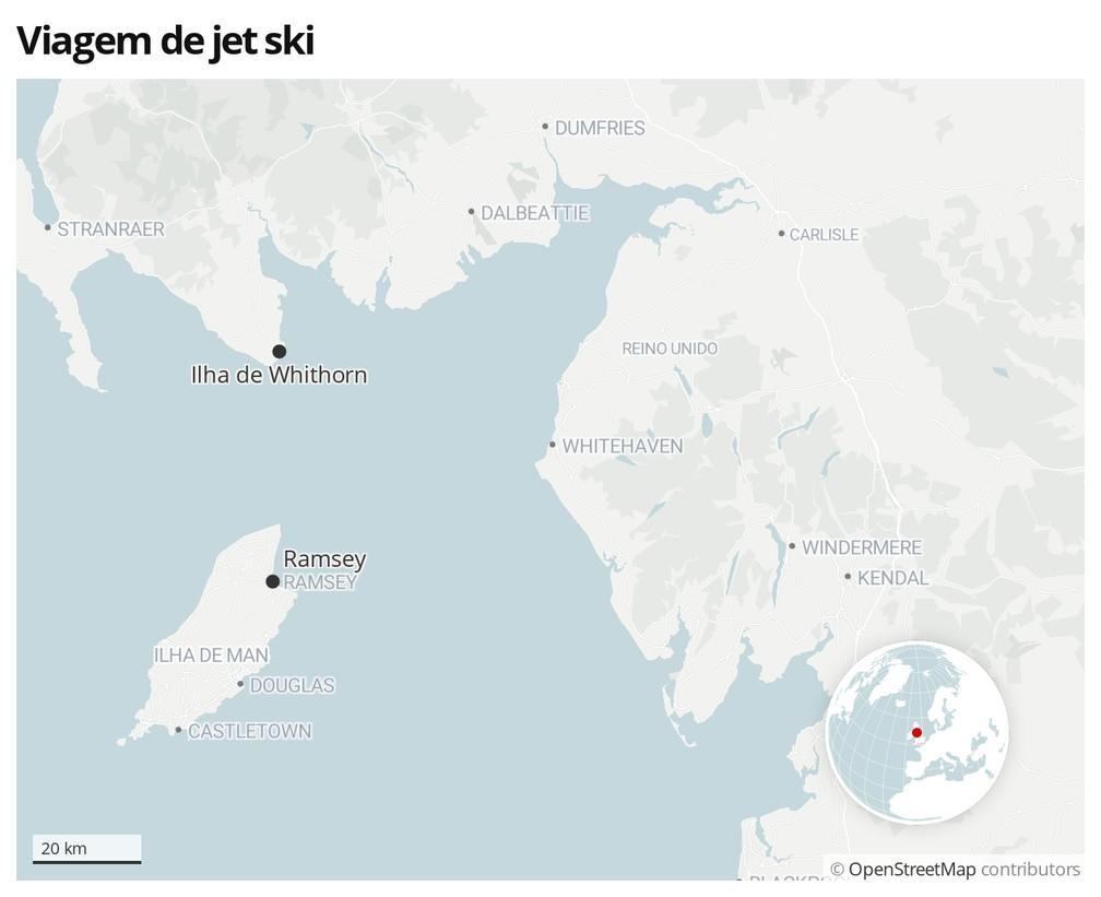 Mapa mostra os pontos de partida e chegada de um escocês que atravessou o mar de moto aquática para visitar a namorada — Foto:  G1
