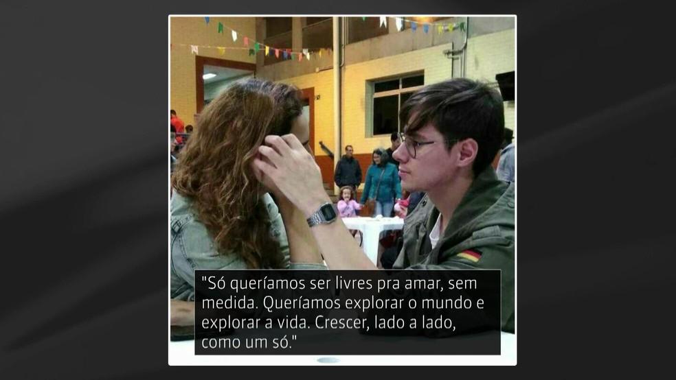 Namorada de Rafael Miguel postou declaração após morte do ator — Foto: Reprodução/GloboNews