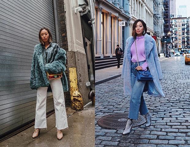 Os casacos de pelúcia podem ser combinados com peças mais casuais ou elegantes (Foto: Instagram / Aimee Song)