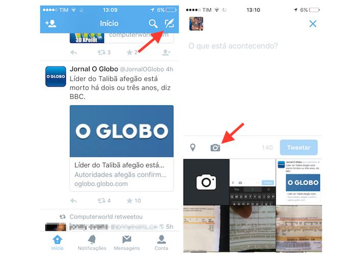 Acessando a biblioteca de fotos do iPhone através do aplicativo do Twitter (Foto: Reprodução/Marvin Costa)